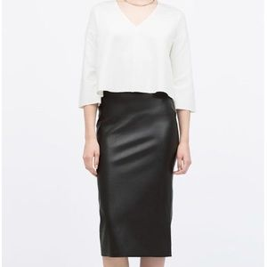 Black Faux Leather Midi Pencil Skirt